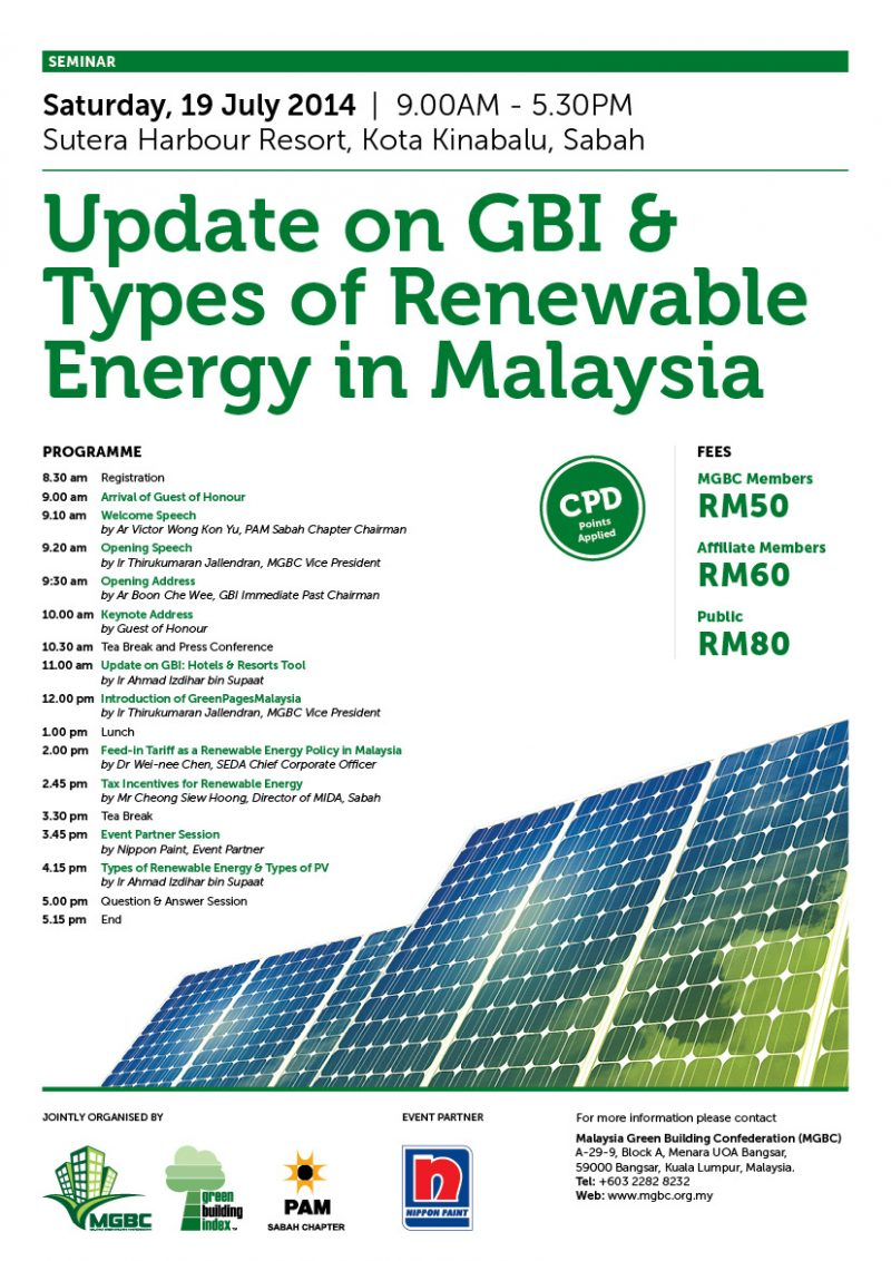 Update On Gbi Types Of Renewable Energy In Malaysia Malaysia Green Building Council Malayisagbc
