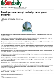 20141111-TheSun-Developers-encouraged-to-design-more-green-buildings
