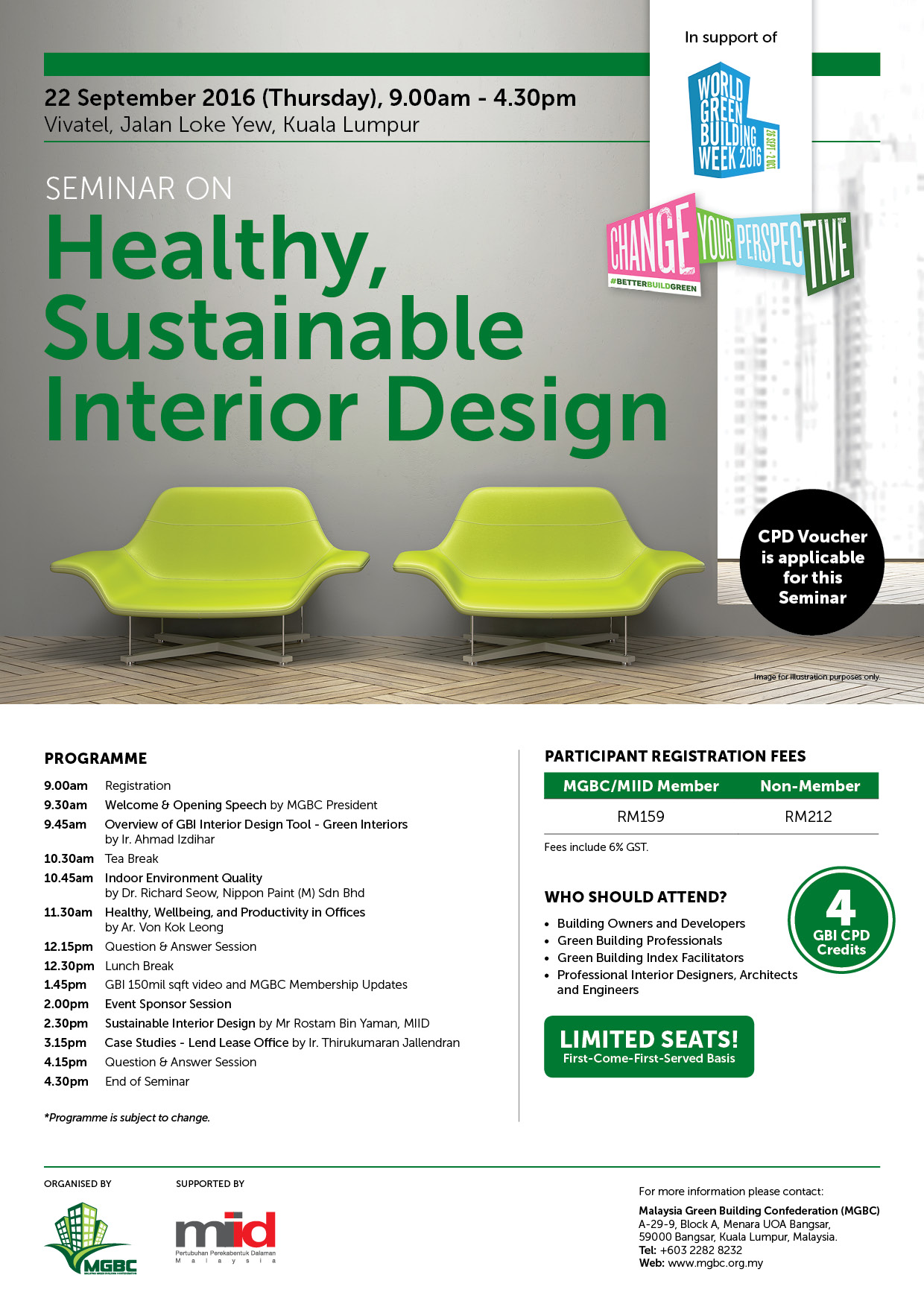 Malaysia green building confederation mgbc seminar on healthy sustainable interior design - Green interior design ...