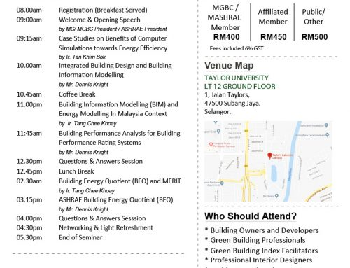 GBI Professional Series 2018 – Building Information Modelling (BIM) & Building Energy Quotient (BEQ)