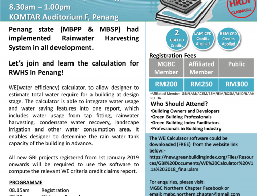 malaysiaGBC Northern Chapter – Water Efficiency – WE Calculator Workshop – 30 Nov 2019 – Penang