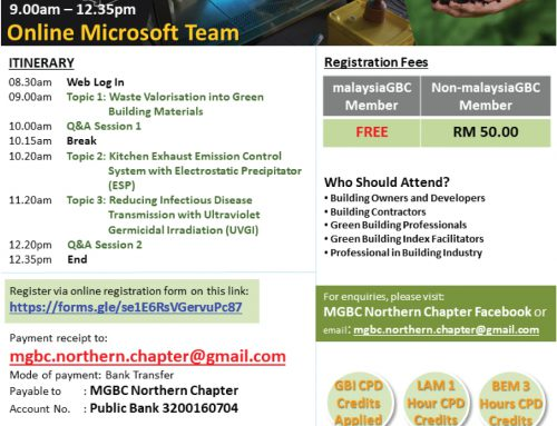 malaysiaGBC Webinar Series – Material Resources & Indoor Air Quality – 15th August 2020 – Northern Chapter