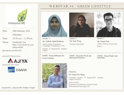 malaysiaGBC Southern Chapter Webinar #4 – Green Lifestyle – 20 Feb 2021 – FB Live
