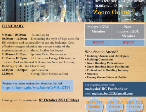malaysiaGBC Northern Chapter Webinar – Effective Ways to Get High Score on Building Energy Intensity – 16 Oct – Virtual