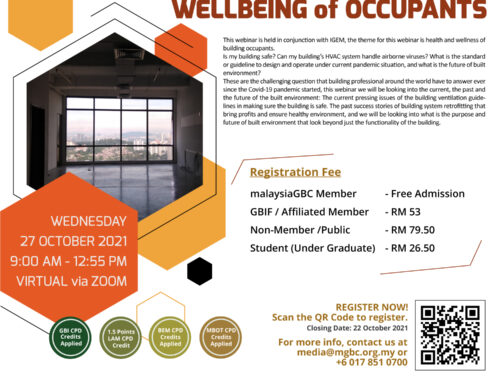 IGEM 2021 – malaysiaGBC WEBINAR on HEALTHY BUILDING AND WELLBEING OF OCCUPANTS – 27 OCTOBER 2021 – VIRTUAL